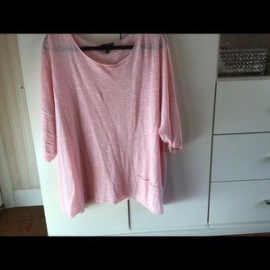 Eileen Fisher Plus Size Pink Linen Top~CUTE!